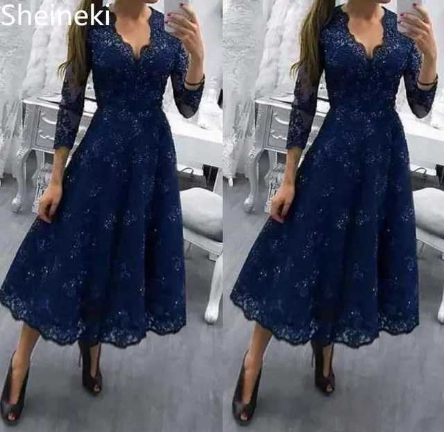04959e49528 Tea Length Plus Size Lace V Neck Mother Of The Bride Dresses 3 4 Long  Sleeves A Line Formal Wedding Guest Dresses robe de mariee