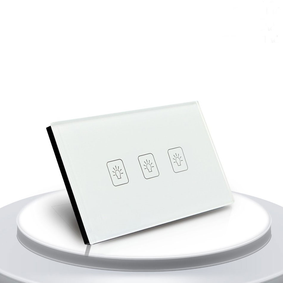 3 Gang 2 Way 118*72mm Wallpad Gold Glass Touch Screen Switch Panel, 110V-250V US Standard Wall Switch 3 gang 1 way 118 72mm wallpad white glass touch wall switch panel led 110v 250v au us switching power supply free shipping