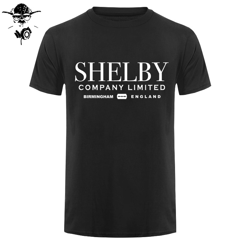 Shelby Company Limited Inspired by Peaky Blinders Printed T-Shirts Top Tee 100% Cotton Humor Men Crewneck Tee Shirts Black Style image