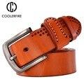 Vaquero cinto ceinture cinturones de diseñador hombres de alta calidad de lujo verdadera piel de vaca plena flor camel masculino negro TM006