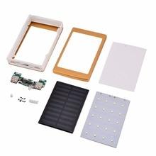 20000mAh Portable Solar Power Bank Case DIY Kit Dual USB Battery Charger w/ Flashlight