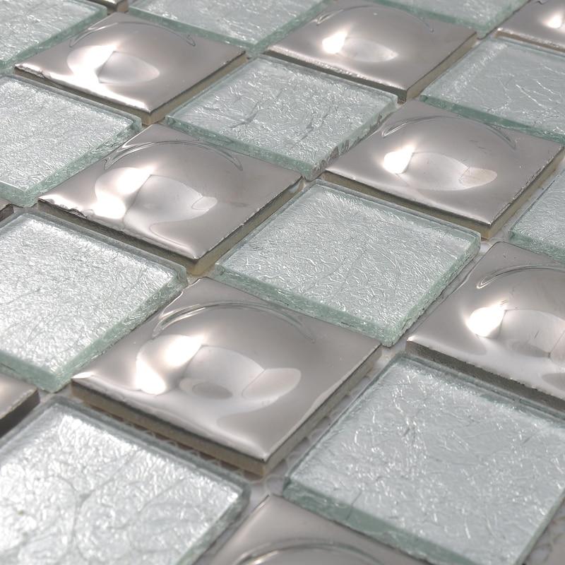 ᐊAcero inoxidable y vidrio mosaico plata HMGM2030 para backsplash ...