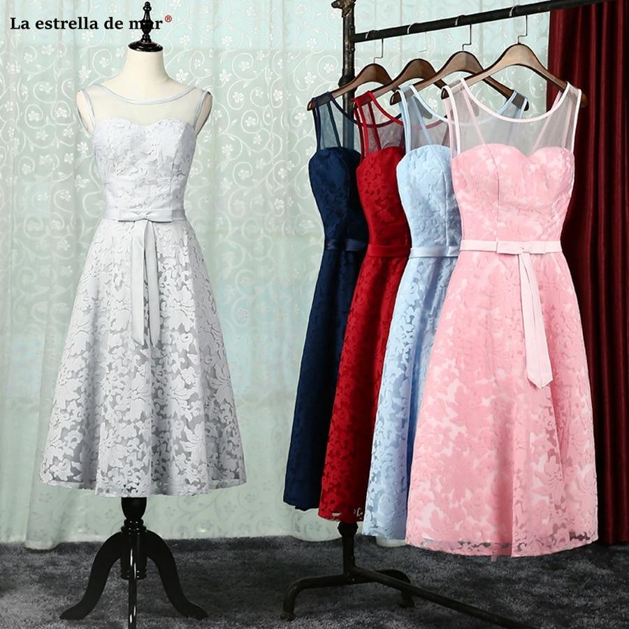 Vestido madrinha2018 new lace back Tea Length burgundy silver pink sky blue navy blue   bridesmaid     dresses   real photo gaun pesta d