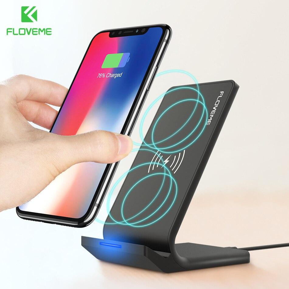 10 W Caricatore Senza Fili Qi FLOVEME Desktop Supporto di Ricarica Pad Caricabatterie Wireless per Samsung S8 Più S9 S6 Bordo Per il iphone X 8 più