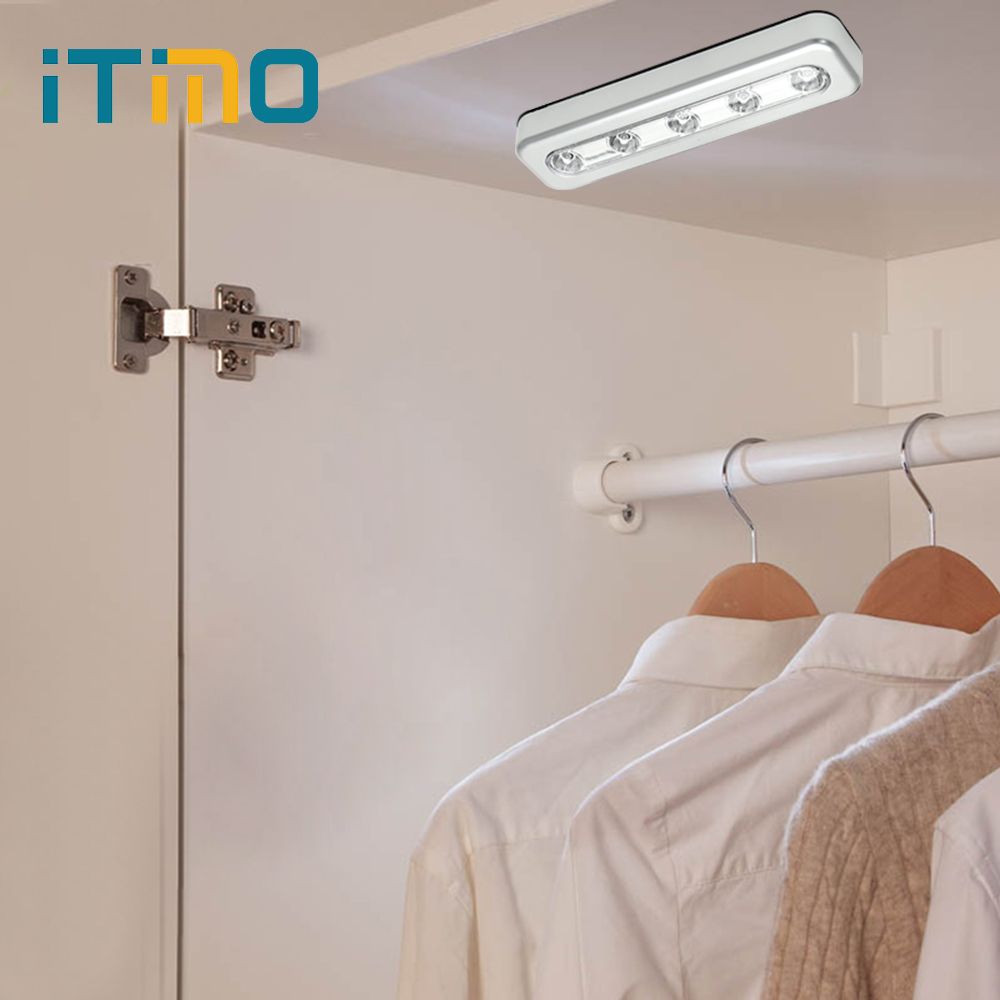 Stick On Wall Lamp Us 2 66 25 Off Itimo Led Night Light Wardrobe Closet Lamp Stick On Wall Lamp Battery Powered Indoor Lighting 5 Leds Bright Emergency Light Bulb In