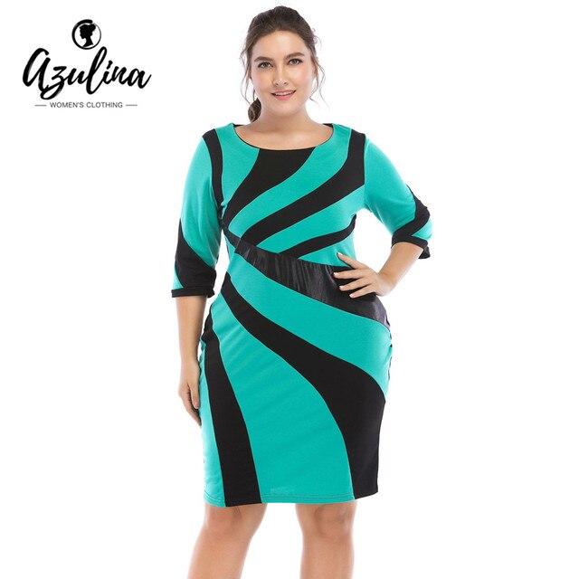 AZULINA Plus Size Irregular PU Leather Contrast Stitching Dress Slim OL Bodycon  Dress Women Dresses 6X Big Size Clothes Vestidos 9d2d45dfb528