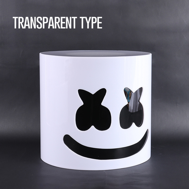 30cm Transparent DJ Marshmello Helmet Mask Can Install LED