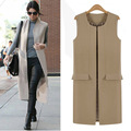 UK Brand New 2017 Spring Autumn ZA Style Women One button Sleeveless blazer Vest Fashion Maxi Long Waist coat Veste femme