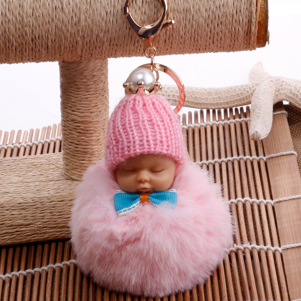 Cute Pearl Crown Fluffy Bow tie Sleeping Baby Keychain Pom Pom Rabbit Fur Ball Car Key ring Women Key Chain Holder Bag Pendant