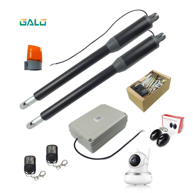 New Black appearance Aluminum Light Duty Worm Gear Automatic Swing Gate Opener photocells lamp button keypad optional in Access Control Kits from Security Protection