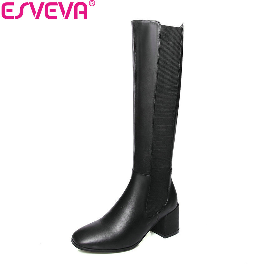 ESVEVA 2019 Women Shoes Square High Heels Square Toe Short Plush Winter Boots Knee High Boots Slip on Autumn Shoes Size 34-39 esveva 2019 women shoes mid calf boots round toe med heels winter boots short plush slip on height increasing snow boots 34 43