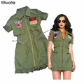 TITIVATE Women Halloween Army Stewardess Masquerade Military Sailor Cosplay Navy Polce Green Uniform Role Playing Sexy Costume