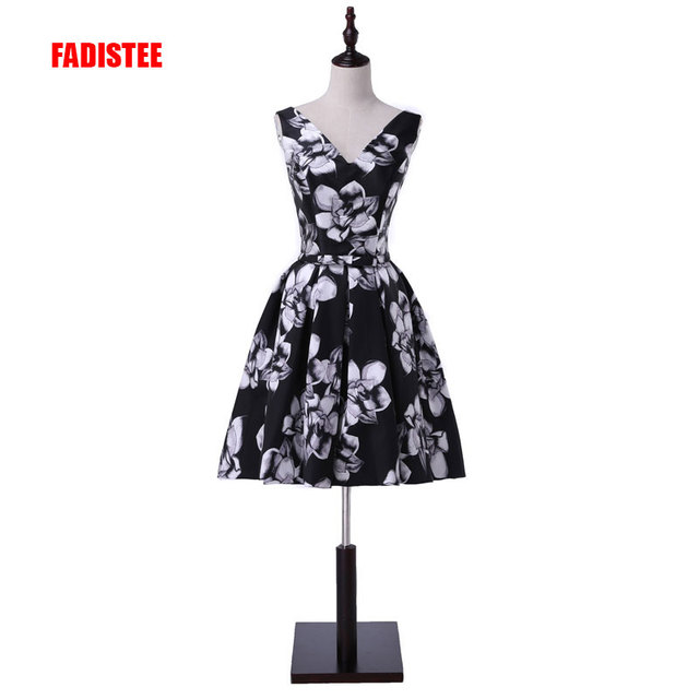 FADISTEE new arrive party prom dress Vestido de Festa V-neck pattern satin  bow A-line lace-up back print short dress 2bef9310f68e