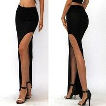 2015 New Fashion summer style Skirt Sexy Women Long Skirts Lady Open Side Split Skirt Long Maxi Skirt Khaki/Black Free Size недорго, оригинальная цена