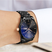New European and American personality waterproof watch Fashion ultra-thin steel belt quartz business luminous trend 0013