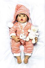 цена 45cm soft body Silicone Reborn Baby Doll Toy For Children Lovely 24inch Vinyl Toddler Princess Babies Dolls Kid Birthday Gift онлайн в 2017 году
