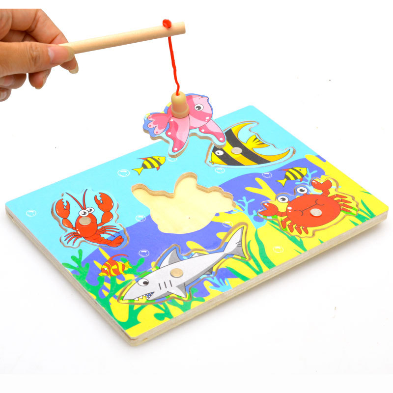 New Cute Wooden Magnetic Fishing Game & Jigsaw Puzzle Board Children Toy