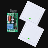 AC 220V Receiver Wireless Remote Control Switch 2PCS Wall Panel Remote Transmitter Hall Bedroom Ceiling Lights