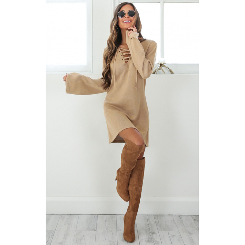 Plus Size S~XL Fashion Knitted Bottoming Flare Long Sleeve Hollow Out Cross Bandage Sexy Women Autumn And Winter Sweater dress 2016 women s clothing fashion in europe and the atmosphere bohemia elasticity knitted cultivate one s morality dress