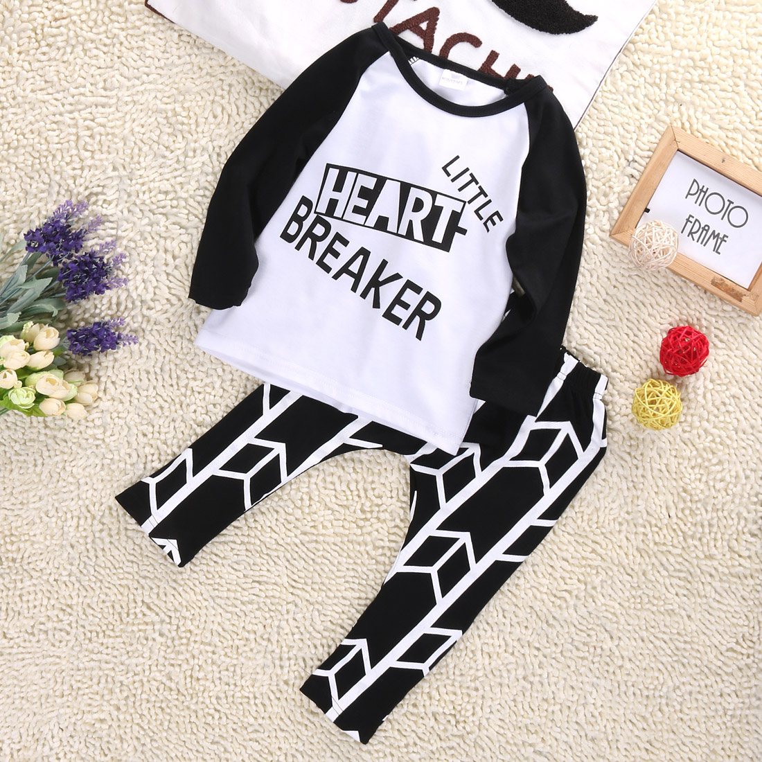 New Arrival Infant Baby Boys Girls Letter printed Outfits Babies Letters T-shirt+Pant Outfit Set Sleepwear Pajamas Clothing Pjs