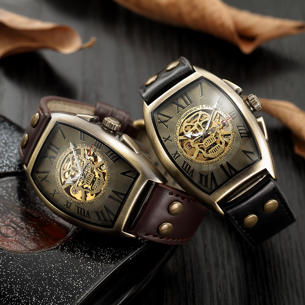 Luxury Brand Automatic Watches Men 2019 Skull Skeleton Self Winding Wristwatch Male Retro Fashion Clock Leather
