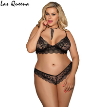 Transparent Sexy Lingerie Plus Size Women Set Lace Deep V-Neck Erotic Floral Exotic Apparel