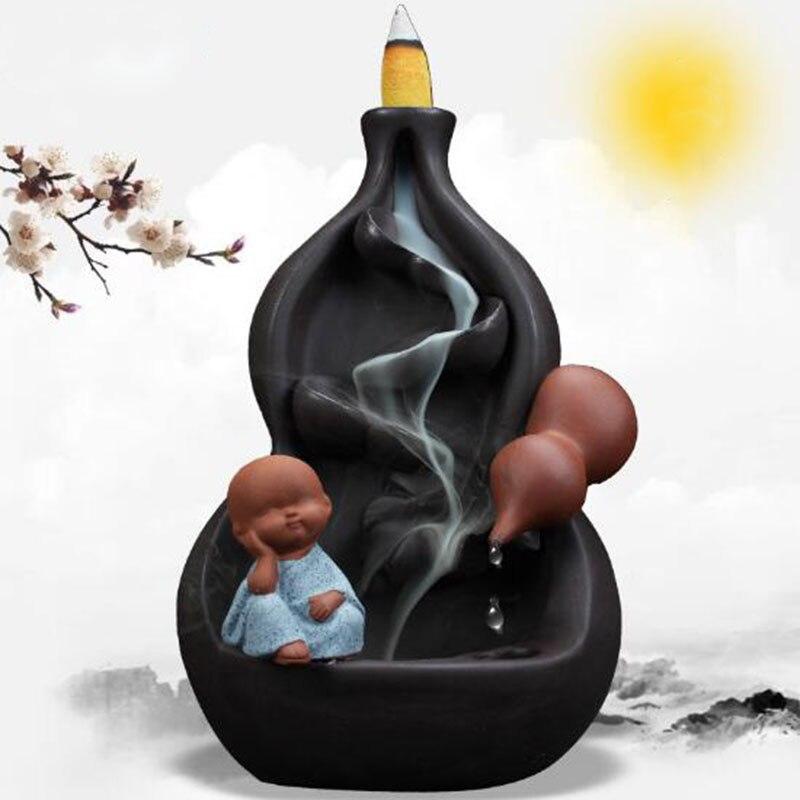 Créatif dégoulinant eau gourde retour brûleur d'encens petit moine aromathérapie meubles tour encens parfum titulaire décor à la maison