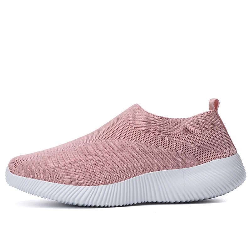 Обувь больших размеров; дышащая кроссовки из дышащего сетчатого материала женские Весна-осень, без застежек, на платформе, трикотажная обувь на плоской подошве; мягкая прогулочная обувь женская 2019