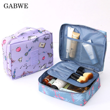 GABWE Women Makeup bag Nylon Cosmetic Bag Organizer Lazy Flamingo Make up Pouch Cases Beauty Toiletry Kit Tools Wash Storage