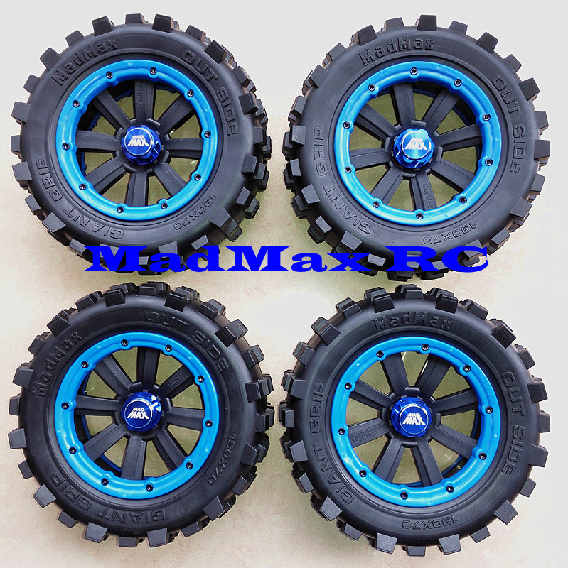 MadMax Big nail tires with rims beadlock 4pcs set for 1 5 TRAXXAS XMAXX 190x70mm adapter