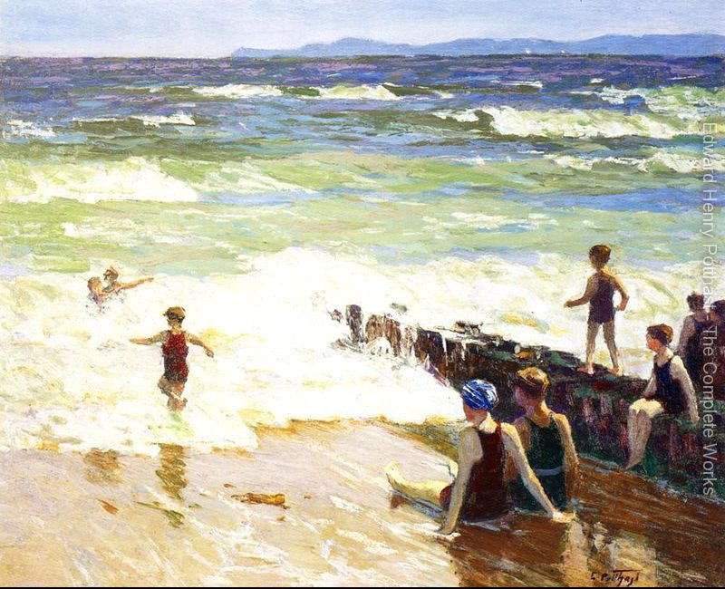 oil painting Beach and Children Bathers by the Shore by Edward Henry Potthast High quality Hand painted Landscape Art Home Decor