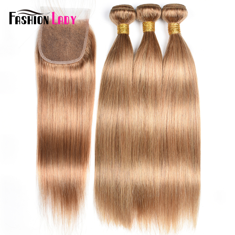 Fashion Lady Pre-Colored 3/4 Bundles With Closure Peruvian Human Hair Straight Blonde Color 27# With Lace Closure Non-Remy Hair