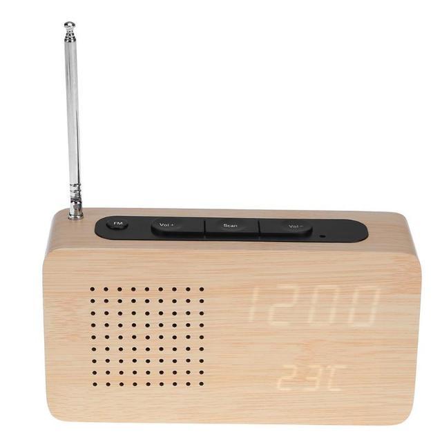 WoodTouch VIORNE - FM Radio Réveil en bois