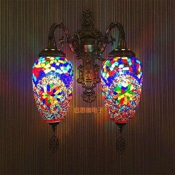 Двойные головки Новый Средиземноморский стиль Арт Деко Турецкая мозаика настенная лампа ручной работы мозаика стеклянная романтическая н...