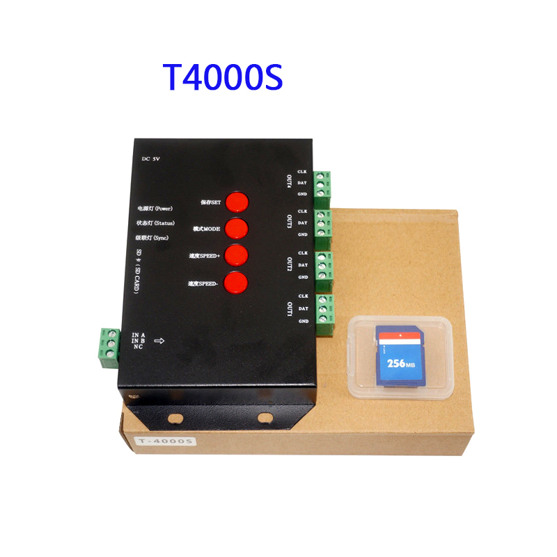 Free Shipping LED RGB Controller T4000S Configurable SD Card DC5V sk6812 WS2812B WS2811 WS2801 LP6803 led digital pixel strips dc5v t4000s rgb controller sd card led pixel controller t 4000s can max control 4096 pixels for ws2811 ws2801 ws2803 lp6803