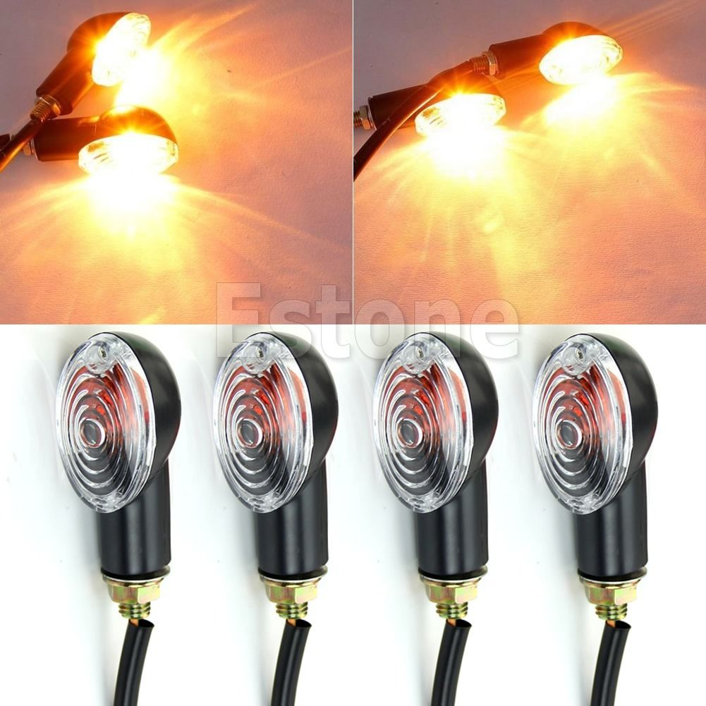4X Universal Motorcycle Halogen Bulb Turn Signal Blinker Indicator Light Amber