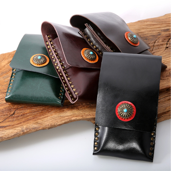 Professinal salon barber use high quality leather waist pack hair scissors pouch bag