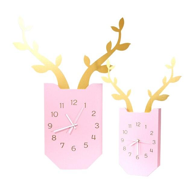 Nordic deer clock living room quiet wooden hanging modern simple ...