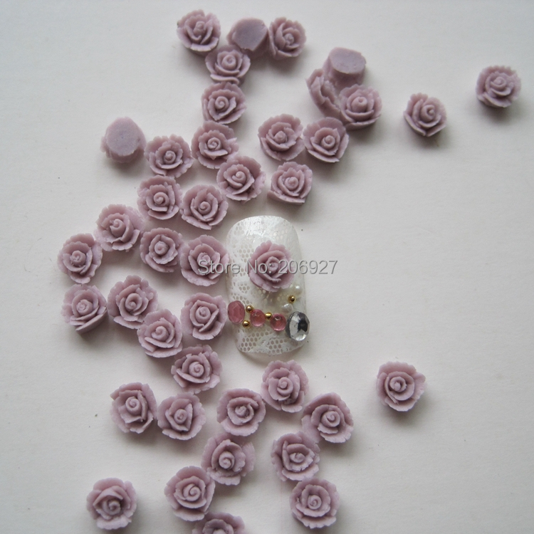 CF4-7 30pcs Cute Ceramic Purple Flower Shape Nail Art Decoration Outlooking art ceramic