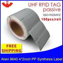 Etiqueta rfid uhf alienígena 9640 epc 6c pp, sintética à prova dágua, 500 peças, adesivo frete grátis, rfid passivo etiqueta de rótulo