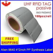 RFID ярлык UHF стикер Alien 9640 EPC 6C PP синтетическая Водонепроницаемая этикетка 915m868mhz 500 шт Бесплатная доставка клейкая Пассивная RFID этикетка