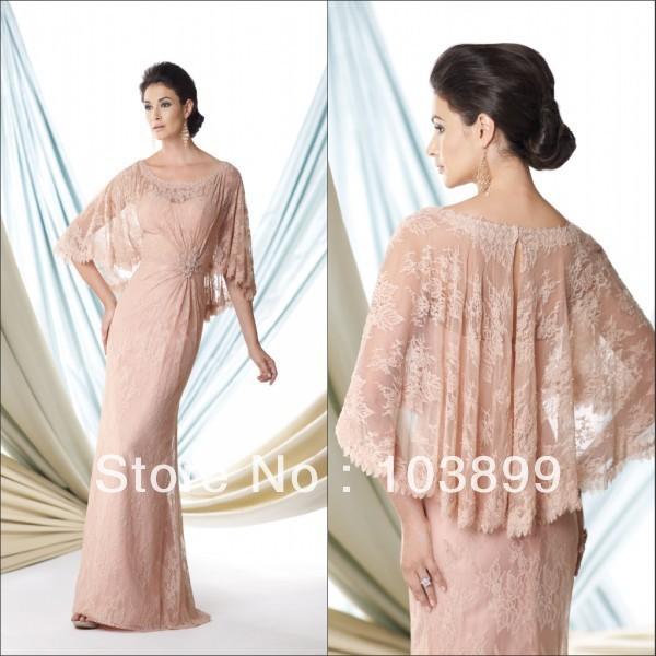 In Style adorável A linha de colher Neck frisada rosa renda mãe do vestido da noiva com Bolero longo frete grátis