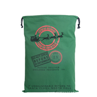 70cmx50cm High Qualiy 2Style Pattern Green Large Christmas Decoration Canvas Cotton Drawstring Bags Shopping Gift Candy