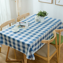 Blue White Striped Rectangular Table Cloth Modern Simplified Cotton Canvas Tablecloth  Green White Grid Table Cover