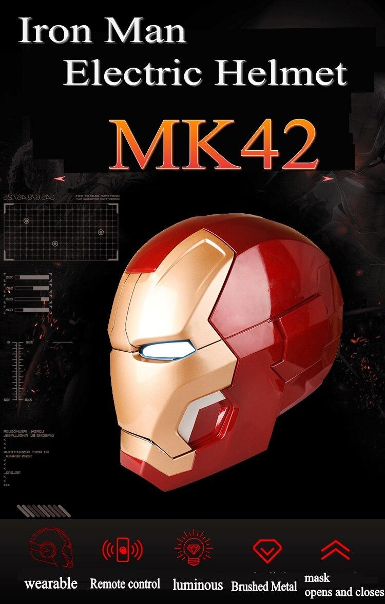 Avengers 4 1:1 Halloween Party zeer hoge kwaliteit Iron man masker mk42 helm wearable model touch elektrische open masker marvel - 2