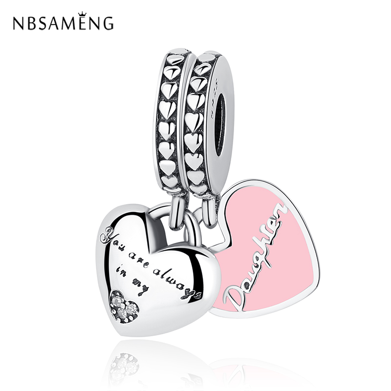 Authentic 925 Sterling Silver Bead Mother & Daughter Hearts Soft Pink Enamel Pendants Charms Fit Pandora Bracelets DIY Jewelry(China)
