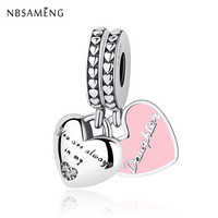 Authentic 925 Sterling Silver Bead Mother & Daughter Hearts Soft Pink Enamel Pendants Charms Fit Pandora Bracelets DIY Jewelry