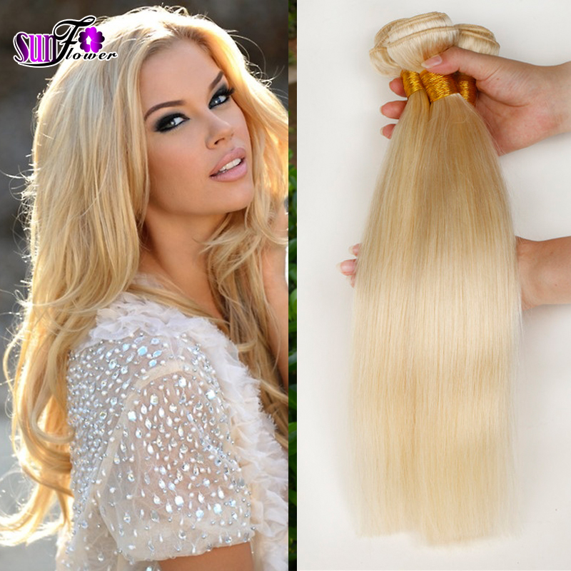 Grade 613 Blonde Virgin Hair Straight 3Pcs Platinum Blonde Virgin Hair ...