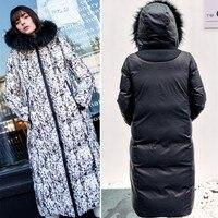 Women's Snowimage Winter Warm Coats New Real Raccoon Fur Coat Female Reversible Over Knees Warm Long Outerwear