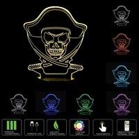 Illusion Schedel 3D LED Nachtlampje Acryl 7 Kleuren Veranderende Kids Baby Slaapkamer USB Tafellamp Touch En Remote Switch